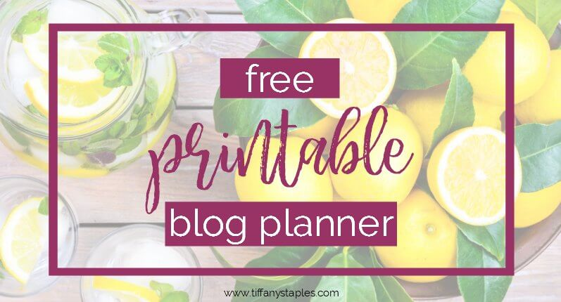 Free Printable Blog Planner from Business Consultant Tiffany Staples