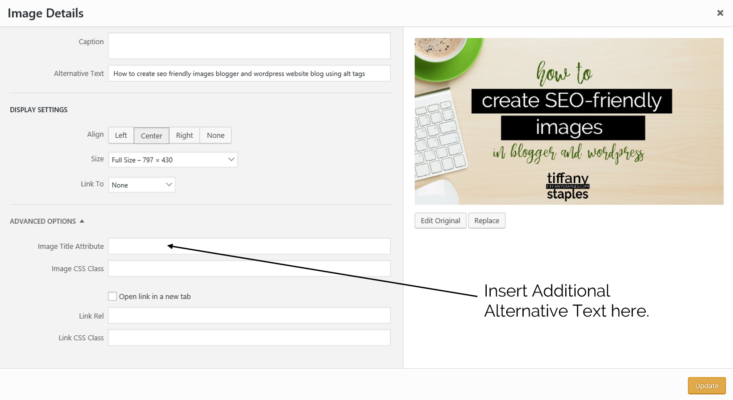 Optimize Images in WordPress by adding additional alt tags and alternative text in the edit screen