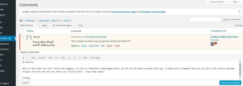 Moderating and Replying to Comments in WordPress